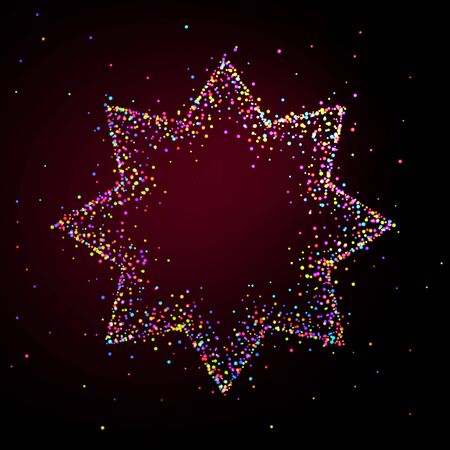 Eight-pointed star frame made of shiny multi-colored particles. Background for greeting card or party invitation
