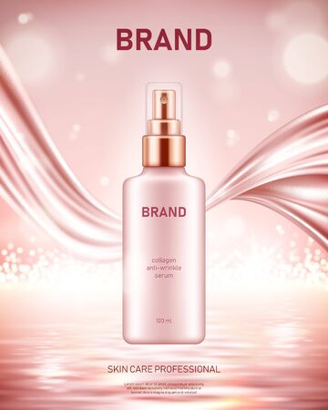 Realistic spray bottle with silky smooth fabric on shiny sea background with bokeh lights. Cosmetic brand advertising concept design