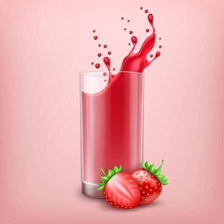 3d realistic glass of strawberry juice with splash and fresh strawberries on pink background