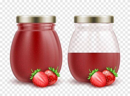 3d realistic full and half empty strawberry jam jars with fresh strawberries on transparent background