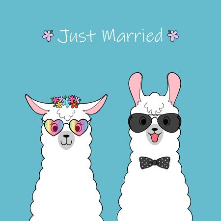 Just married. Couple of cute cartoon llamas. Hand drawn illustration Vettoriali