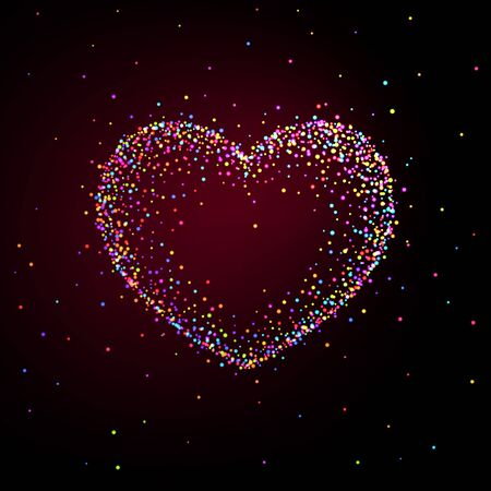 Heart shaped frame made of shiny multi-colored particles. Background for Valentines Day card Ilustração