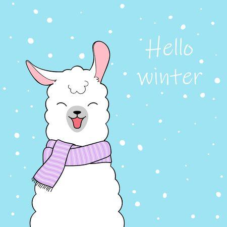 Hello winter. Cute cartoon llama wearing knitted scarf. Hand drawn illustration Illustration