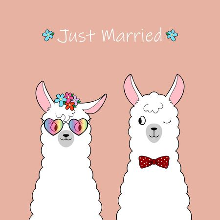 Just married. Couple of cute cartoon llamas. Hand drawn illustration