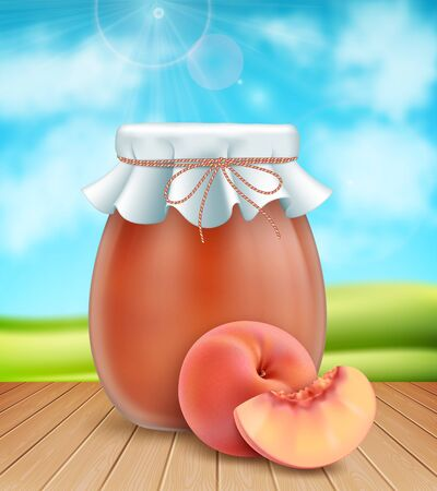 3d realistic half empty peach jam jar with paper cover and fresh peaches on nature background