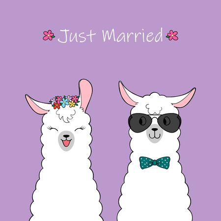 Just married. Couple of cute cartoon llamas. Hand drawn illustration  イラスト・ベクター素材