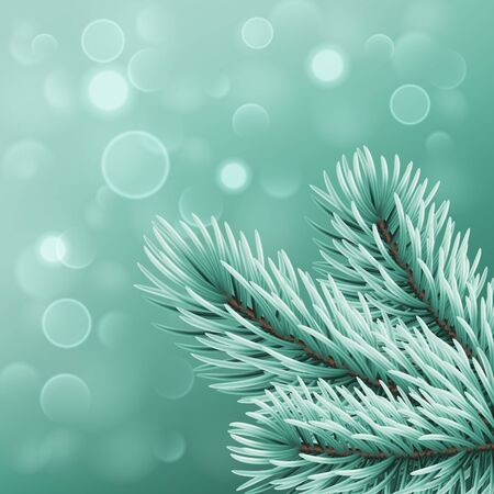 Winter background with realistic Christmas tree branches and bokeh lights. Greeting card or invitation template