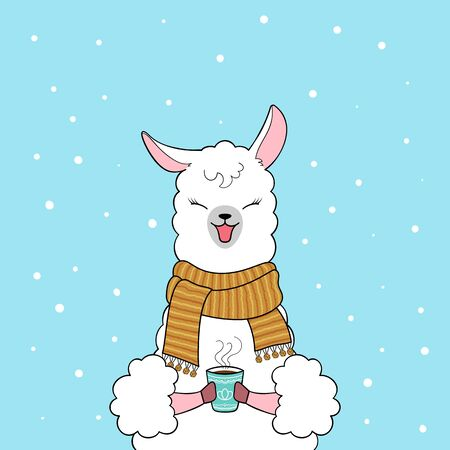 Cute cartoon llama wearing knitted scarf holding a cup of coffee. Hand drawn illustration Ilustrace