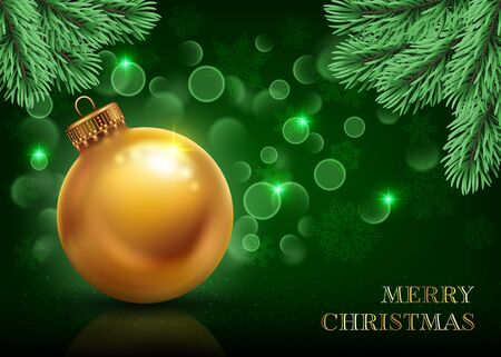 Christmas and New Year background decorated with realistic golden ball, pine branches and bokeh lights. Greeting card, poster or invitation template