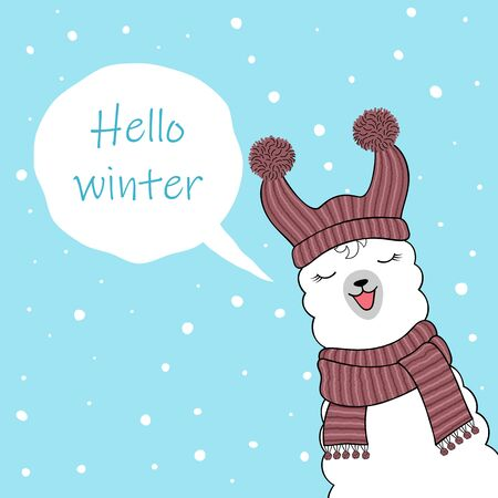 Hello winter. Cute cartoon llama wearing knitted hat and scarf. Hand drawn illustration