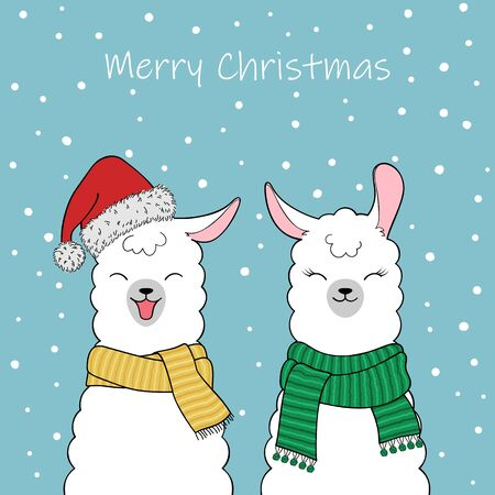 Christmas greeting card. Couple of cute cartoon llamas wearing a Santa Claus hat and knitted scarves. Hand drawn illustration Illustration