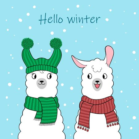 Hello winter. Couple of cute cartoon llamas wearing knitted scarves. Hand drawn illustration