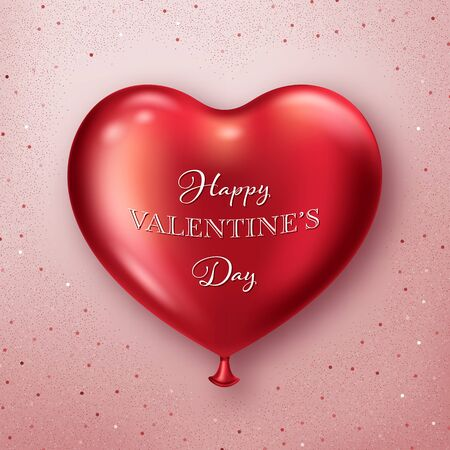 Valentines Day background with realistic heart-shaped balloon. Greeting card, invitation or banner template