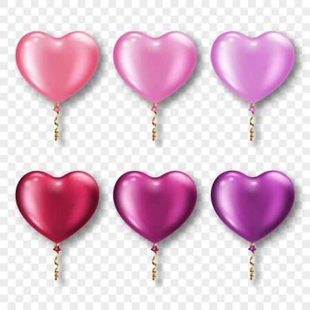 Set of realistic heart-shaped balloons on transparent background. Design element for Valentines Day greeting card or wedding invitation