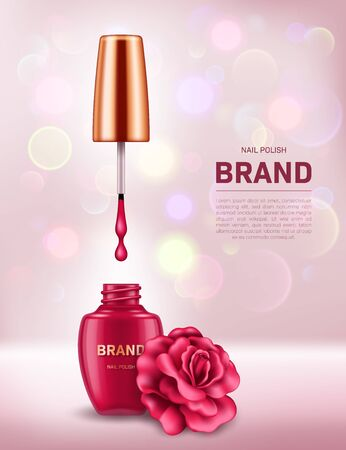 Realistic nail polish bottle with golden lid and rose on background with bokeh lights. Cosmetic brand advertising concept design