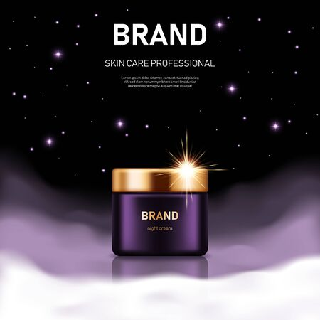 Realistic cream jar with golden lid on night background with clouds and stars. Advertising poster for the promotion of cosmetic skin care premium product