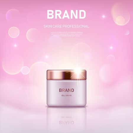 Realistic cream jar with golden lid on pastel pink background with bokeh lights. Advertising poster for the promotion of cosmetic skin care premium product