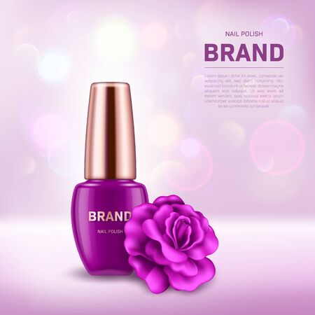 Realistic nail polish bottle with golden lid and rose on background with bokeh lights. Cosmetic brand advertising concept design Ilustracje wektorowe