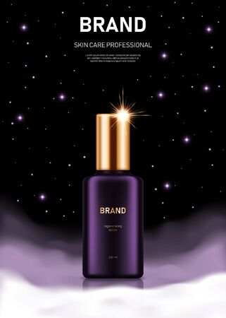 Realistic lotion bottle with golden lid on night background with clouds and stars. Advertising poster for the promotion of cosmetic skin care premium product