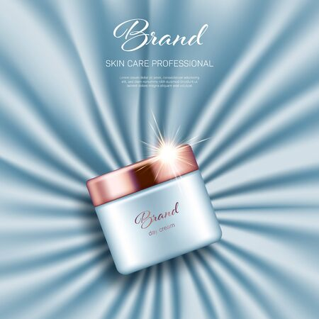 Realistic cream jar with golden lid on light blue smooth satin background. Advertising poster for the promotion of cosmetic skin care premium product