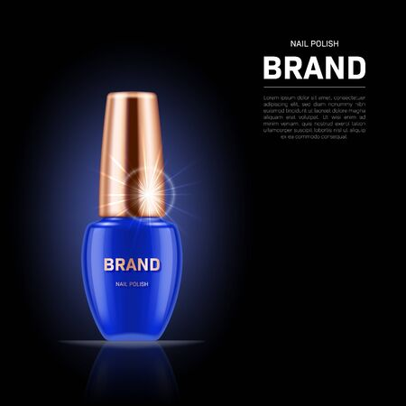 Realistic nail polish bottle with golden lid on black background. Cosmetic brand advertising concept design