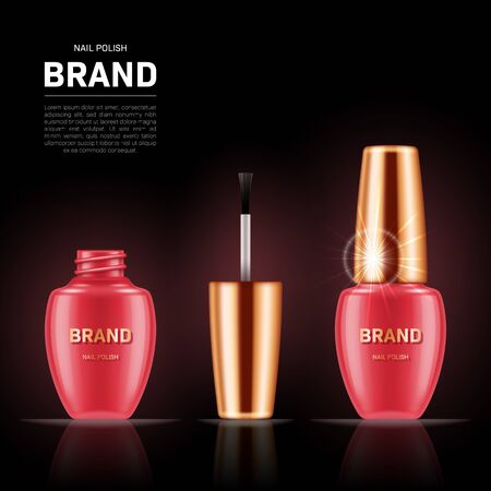 Realistic nail polish bottles with golden lids on black background. Cosmetic brand advertising concept design