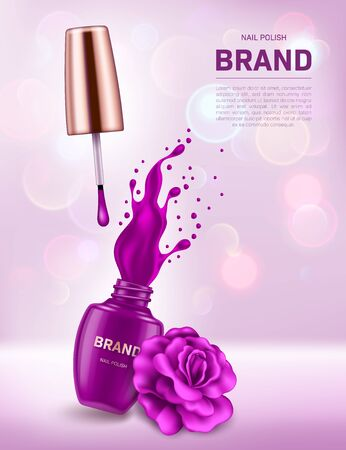 Realistic open nail polish bottle with splash and rose on background with bokeh lights. Cosmetic brand advertising concept design