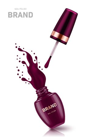 Realistic open nail polish bottle with splash and golden lid on white background. Cosmetic brand advertising concept design Illustration