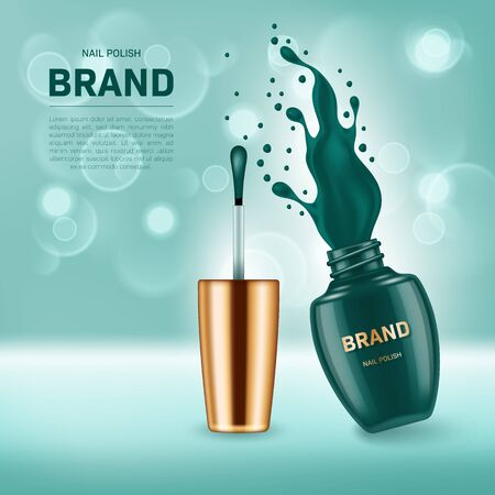 Realistic open nail polish bottle with splash on background with bokeh lights. Cosmetic brand advertising concept design Illustration