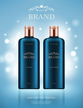 Realistic shampoo and conditioner bottles with golden lids on light blue background with bokeh lights. Advertising poster for the promotion of cosmetic hair care premium product