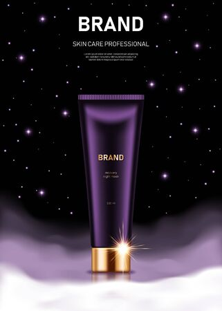 Realistic cream tube with golden lid on night background with clouds and stars. Advertising poster for the promotion of cosmetic skin care premium product Illustration