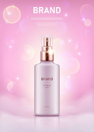 Realistic spray bottle with golden lid on pastel pink background with bokeh lights. Advertising poster for the promotion of cosmetic skin care premium product