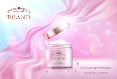 Realistic open cream jar with golden lid on pink bokeh background with smooth transparent chiffon fabric. Advertising poster for the promotion of cosmetic skin care premium product