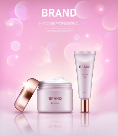 Realistic cream jar and tube with golden lids on pastel pink background with bokeh lights. Advertising poster for the promotion of cosmetic skin care premium product