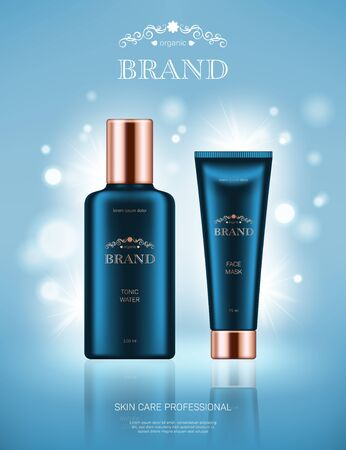 Realistic tonic water bottle and face mask tube with golden lids on light blue background with bokeh lights. Advertising poster for the promotion of cosmetic skin care premium product