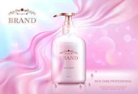 Realistic liquid soap dispenser with golden lid on pink bokeh background with smooth transparent chiffon fabric. Advertising poster for the promotion of cosmetic skin care premium product