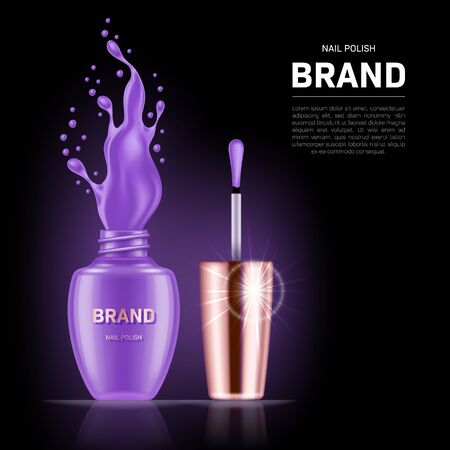 Realistic open nail polish bottle with splash and golden lid on black background. Cosmetic brand advertising concept design Illustration
