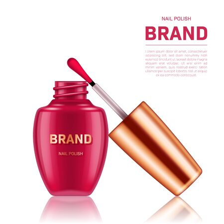 Realistic open nail polish bottle with golden lid on white background. Cosmetic brand advertising concept design