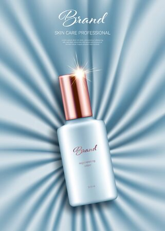 Realistic lotion bottle with golden lid on light blue smooth satin background. Advertising poster for the promotion of cosmetic skin care premium product