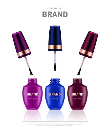 Realistic open nail polish bottles with golden lids on white background. Cosmetic brand advertising concept design