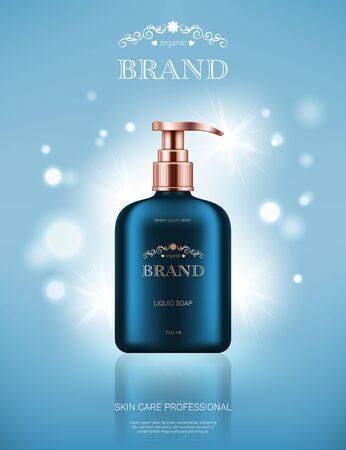 Realistic liquid soap dispenser on light blue background with bokeh lights. Advertising poster for the promotion of cosmetic skin care premium product