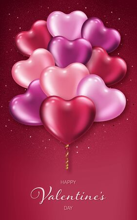 Valentines Day background with realistic heart-shaped balloons. Greeting card, invitation or banner template Illustration