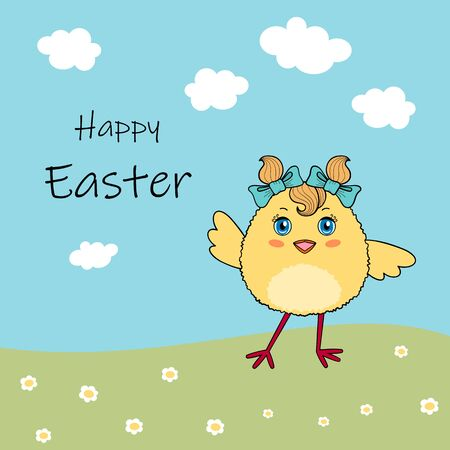 Cute chicken character on background with flowers and blue sky. Easter greeting card or invitation template
