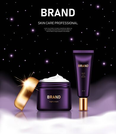 Realistic cream jar and tube with golden lids on night background with clouds and stars. Advertising poster for the promotion of cosmetic skin care premium product