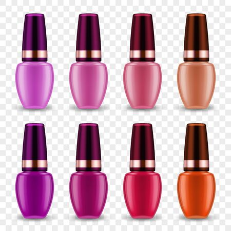 Set of realistic nail polish bottles on transparent background. Design element for cosmetic brand advertising poster