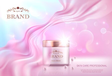 Realistic cream jar with golden lid on pink bokeh background with smooth transparent chiffon fabric. Advertising poster for the promotion of cosmetic skin care premium product