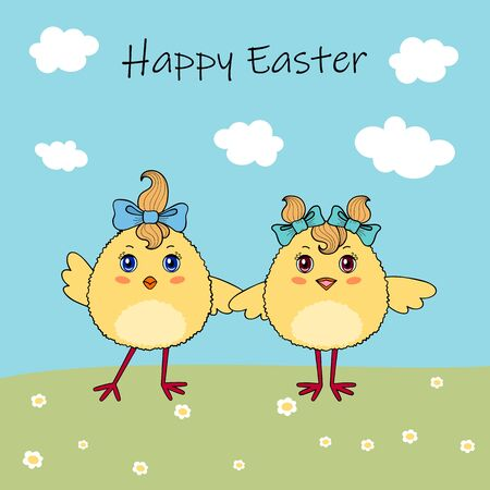 Couple of cute chicken characters on background with flowers and blue sky. Easter greeting card or invitation template