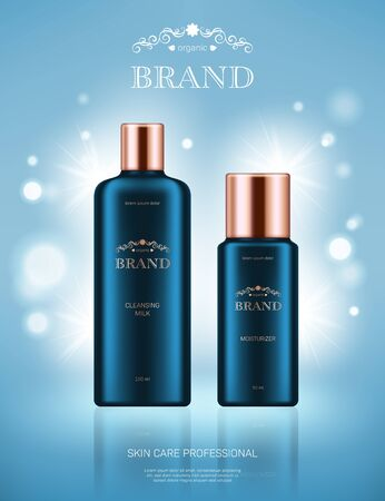 Realistic cleansing milk and moisturizer bottles with golden lids on light blue background with bokeh lights. Advertising poster for the promotion of cosmetic skin care premium product