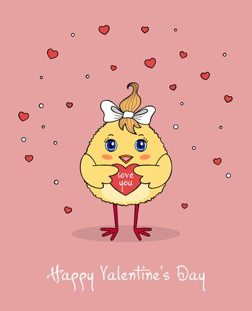 Cute chicken character holding a red heart. Valentines Day greeting card template