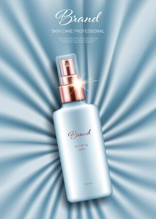 Realistic spray bottle with golden lid on light blue smooth satin background. Advertising poster for the promotion of cosmetic skin care premium product Illustration